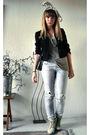 Black-vintage-blazer-blue-zara-jeans-beige-vila-top-topshop-boots-black-