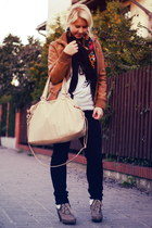 brown no name jacket - beige no name boots - black Levis jeans - beige H&M bag