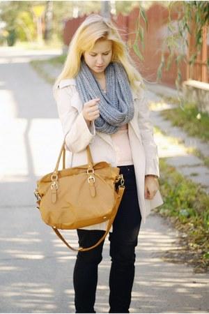 camel reserved bag - beige thrifted jacket - black Levis