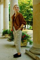 brown American Apparel jacket - beige vintage pants - black H&M shoes