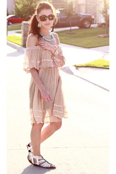 brown dress - beige Sam Edleman shoes - blue accessories - Chanel sunglasses