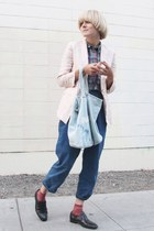 vintage shirt - H&M jacket - Weekend bag - japaense co socks - vintage loafers