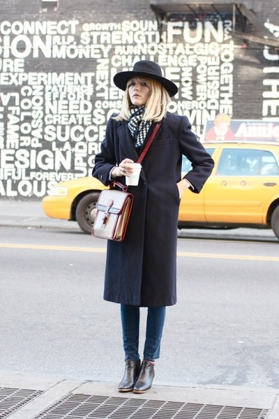 vintage hat - Rachel Comey boots - vintage jacket - Dooney &amp; Bourke bag
