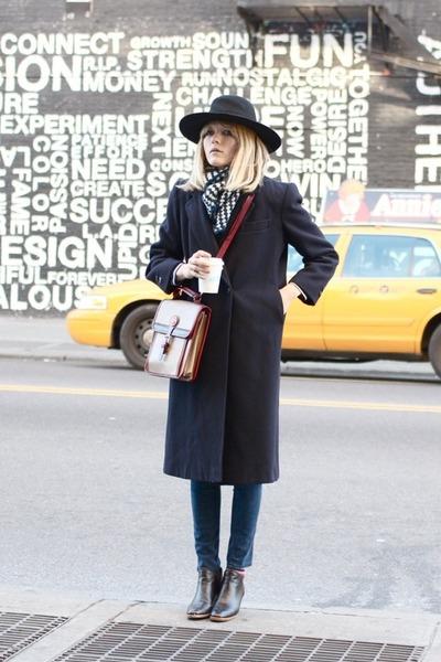 vintage hat - Rachel Comey boots - vintage jacket - Dooney & Bourke bag
