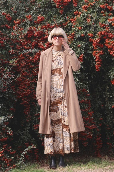 vintage jacket - Rachel Comey boots - vintage dress - vintage sunglasses