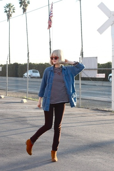 vintage jacket - Aldo boots - vintage shirt - Anthropologie pants