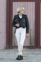 moto jacket vintage jacket - booties vintagw boots - Alexander Wang t-shirt