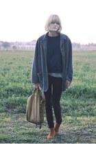 vintage sweatshirt - Aldo boots - brown Anthropologie pants