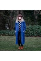 suede leather Express coat - Aldo boots - floral shirt vintage shirt