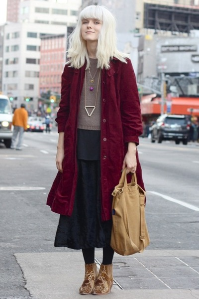 velvet vintage coat - rodarte & opening ceremony shoes - knit H&M sweater