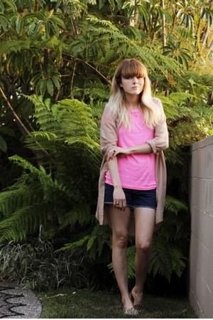 neon pink J Crew t-shirt - leopard print dieppa restrepo shoes