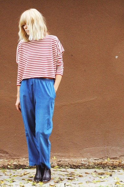 dark brown Rachel Comey boots - red Rachel Comey shirt - sky blue vintage pants