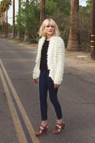 aglassjar vintage cardigan - Zara shoes - American Apparel jeans