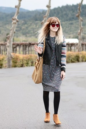 acne jacket - Aldo boots - vintage dress - tote baggu bag