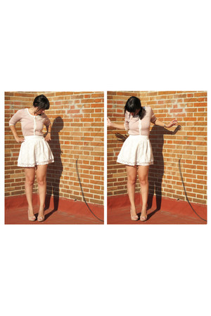 light pink BLANCO cardigan - white Stradivarius skirt - light pink BLANCO heels