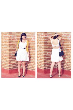 white Lefties dress - navy vintage bag - black H&M belt - gold BLANCO cardigan