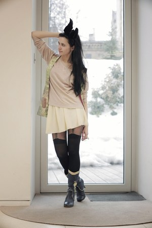 Irregular Choice boots - American Apparel skirt - asos stockings - QooQoo vest