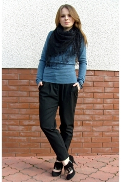 Promod pants - EthelAustin sweater - vintage scarf - Zara shoes