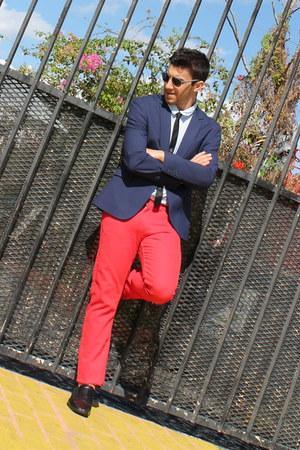 black Express tie - navy Zara blazer - red H&M pants - black Aldo loafers