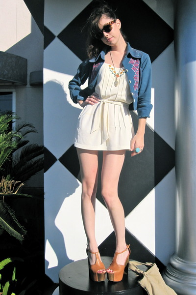 blue vintage jacket - beige vintage dress - beige Jessica Simpson shoes