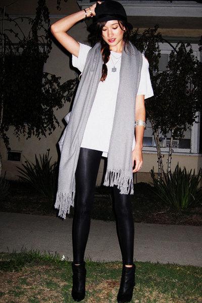 Urban Outfitters hat - random brand scarf - boyfriends closet t-shirt - American