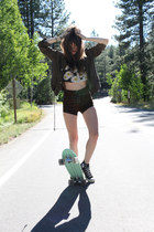 Urban Outfitters top - brandy melville jacket - UNIF shorts