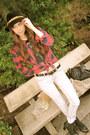 Black-lf-boots-heather-gray-9-days-jeans-beige-vintage-jacket-red-urban-ou