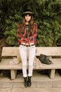 Black-lf-boots-heather-gray-9-days-jeans-beige-vintage-jacket-red-urban-ou
