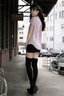 Purple-city-of-dolls-shirt-black-american-apparel-skirt-black-target-socks-