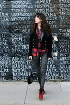 red Urban Outfitters top - red Jeffrey Campbell shoes - black Tigerlily jacket