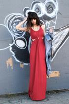 red threadsence dress - light blue LF stores jacket