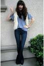 Beige-forever-21-vest-gray-american-apparel-t-shirt-blue-anlo-jeans