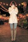 Pink-tigerlily-sweater-beige-vintage-boots-white-american-vintage-jacket-b