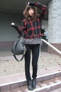Red-american-rag-jacket-gray-city-of-dolls-shirt-black-j-brand-jeans-black