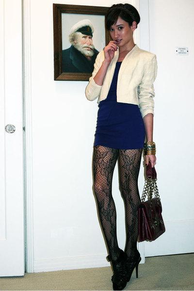 beige Vinatge blazer - black Zara shoes - blue Urban Outfitters dress