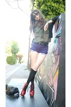 purple Urban Outfitters shorts - red Jeffrey Campbell boots - black H&M sweater
