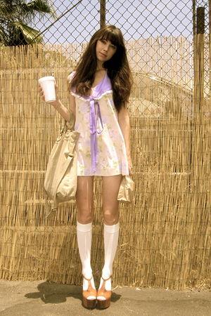 pink vintage dress - brown Jessica Simpson shoes