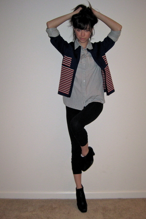 blue Top Shop shirt - blue vintage jacket - black American Apparel leggings - bl
