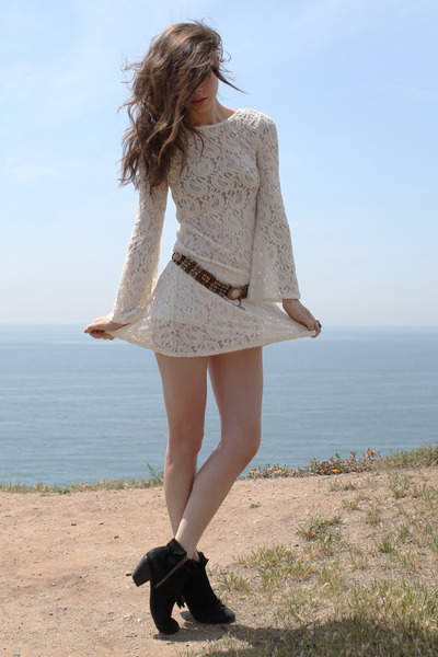 black sam edelman boots - cream Spanish Moss dress