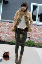 army green Current Elliot jeans - brown Jeffrey Campbell boots