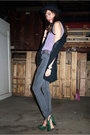 Black-ub-hat-silver-vintage-blouse-black-ub-vest-silver-cheap-mondays-jean