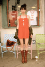 Brown-vintage-boots-red-vintage-dress-olive-green-lf-jeans