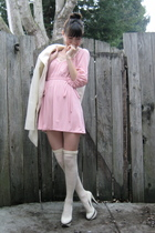 white Top Shop shoes - white 60s mod coat jacket - white Target socks