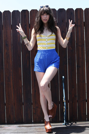 blue free people shorts - white Sabre sunglasses - brown Jeffrey Campbell wedges