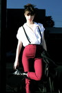 Black-givenchy-boots-maroon-vintage-pants-white-thailand-find-blouse-black