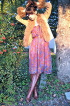 beige vintage jacket - red vintage dress - brown Fendi boots
