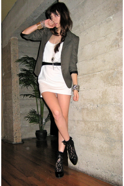gray vintage from Search & Destroy blazer - white Urban Outfitters dress - black