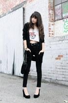 black Urban Outfitters jeans - black Steve Madden heels - black cardigan