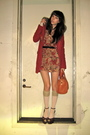 Red-urban-outfitters-jacket-red-vintage-dress-beige-h-m-socks-orange-tory-