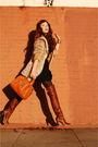 Brown-baleciaga-boots-beige-vintage-jeans-black-vintage-dress-orange-tory-